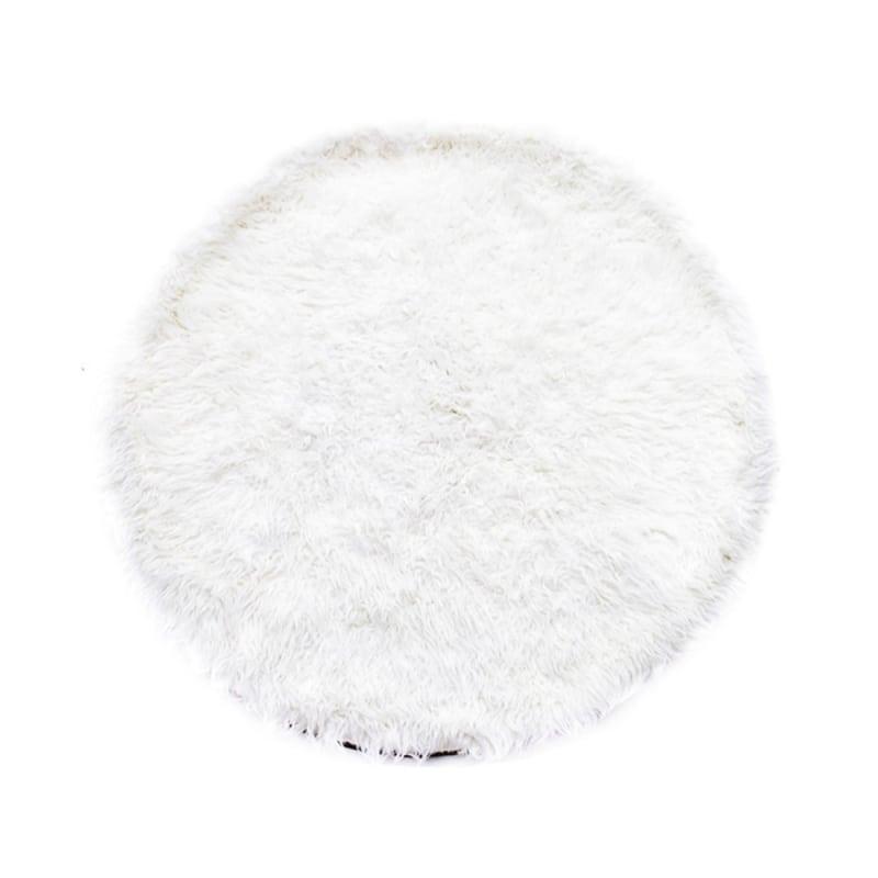 Glerry Home Decor Karpet Bulu Round - Putih