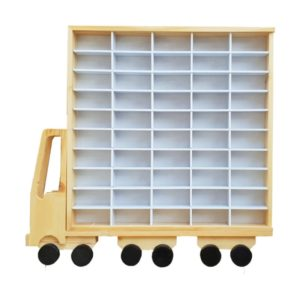 Dutchwood Rak Truk Display Matchbox Hotwheels Tomica Isi 50 Warna Natural & Putih