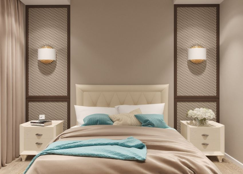 kamar tidur minimalis krem
