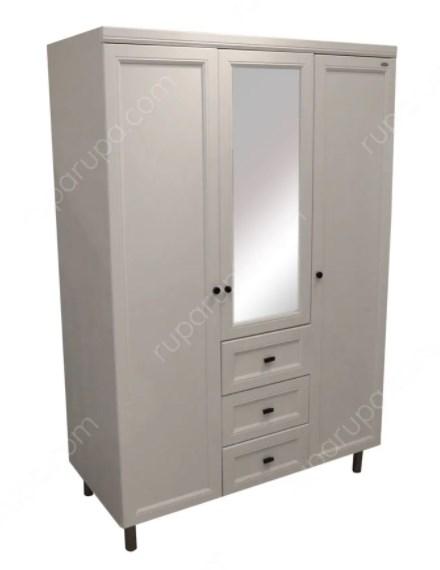 lemari pakaian tiga pintu Menggunakan bahan kaca