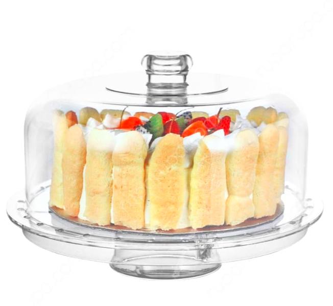 wadah kue kaca dengan tutup