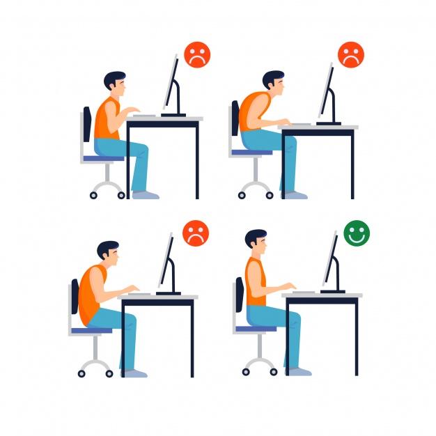 Posisi duduk di depan komputer