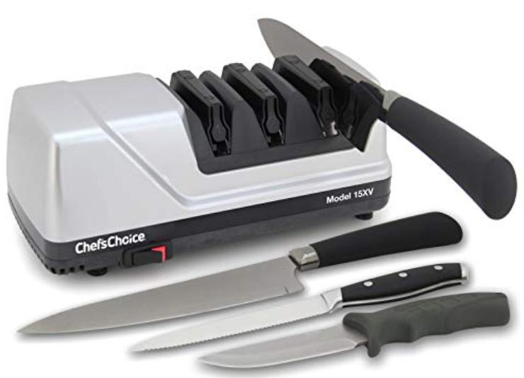 mengasah pisau dengan electric knife sharpener