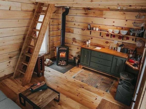 interior dapur kayu rustic