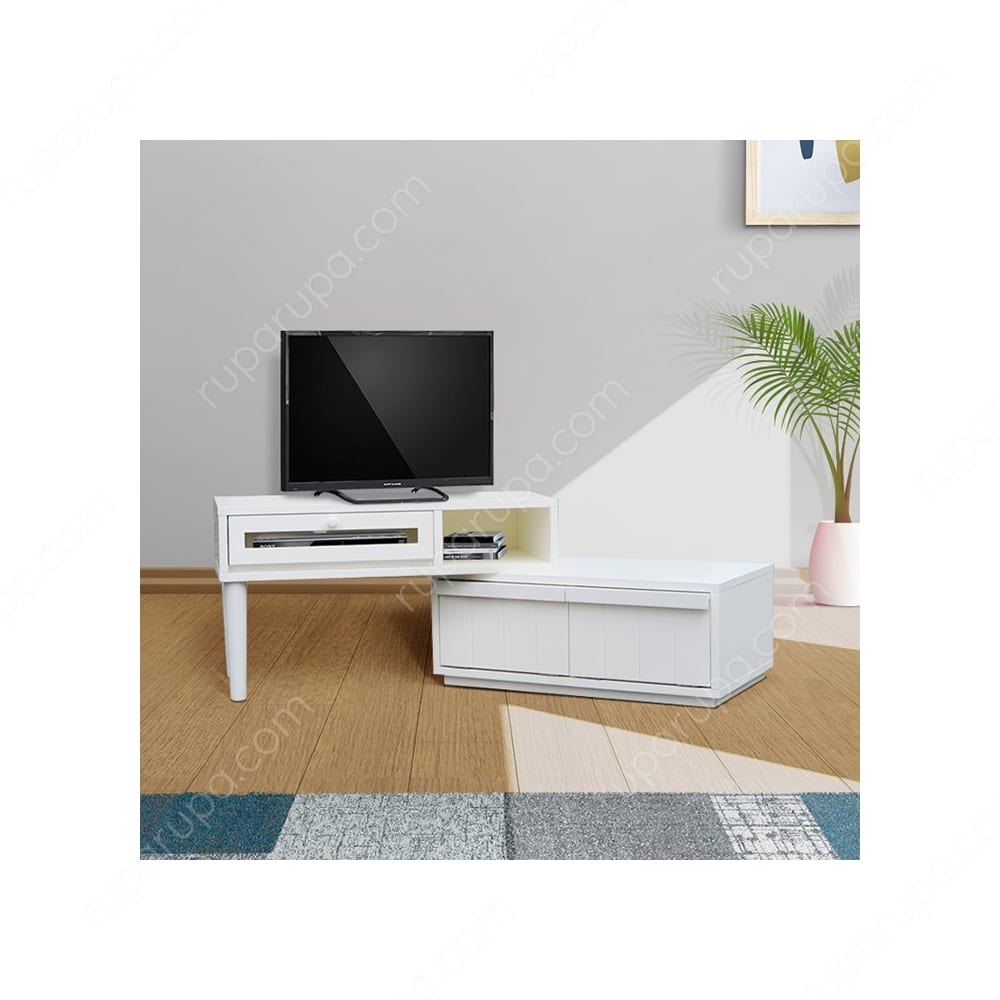 extension meja tv warna putih