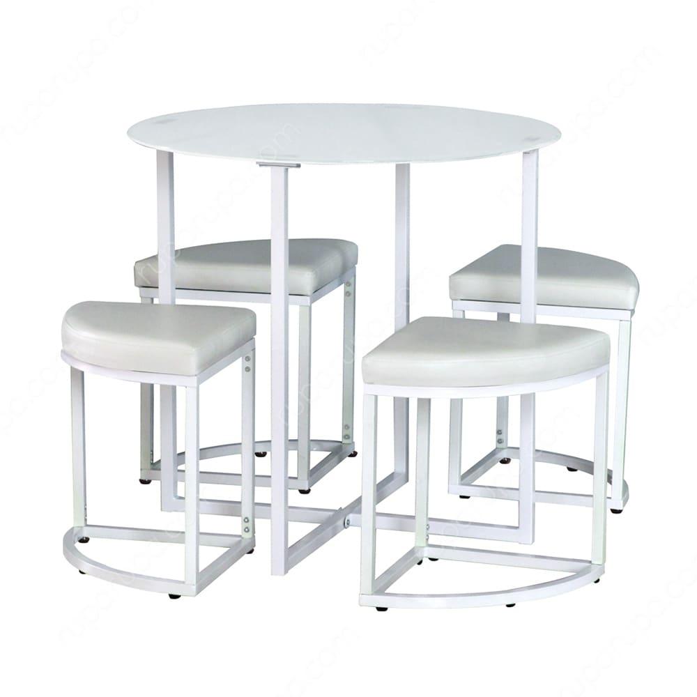 Set meja dan kursi warna putih polos