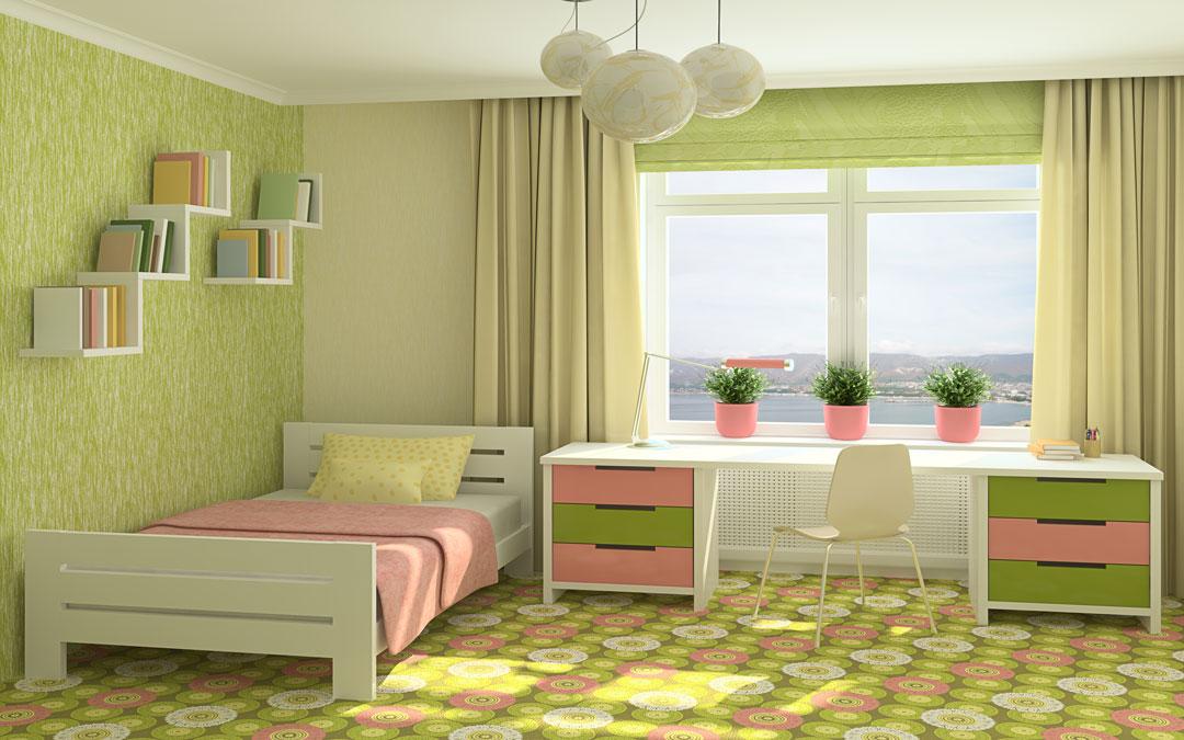 kombinasi warna lime green dan pink pada rumah