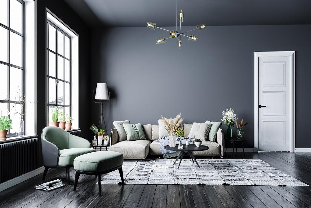 kombinasi warna rumah grey dan hijau