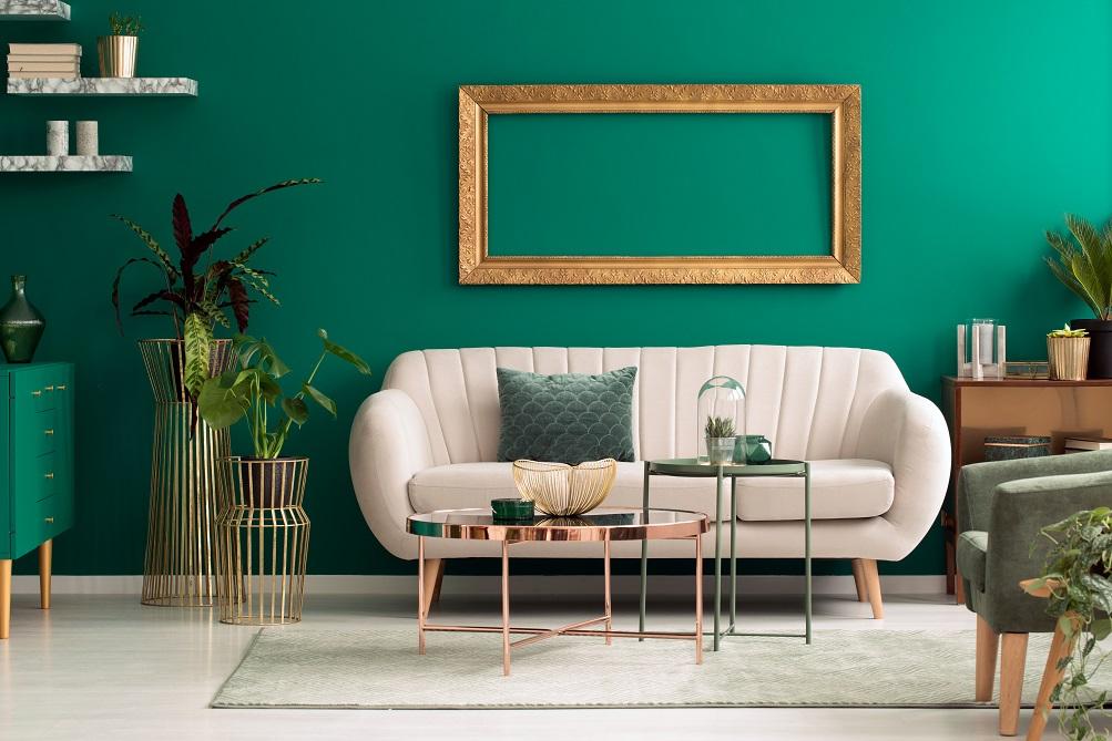 kombinasi warna cat rumah hijau dan off white