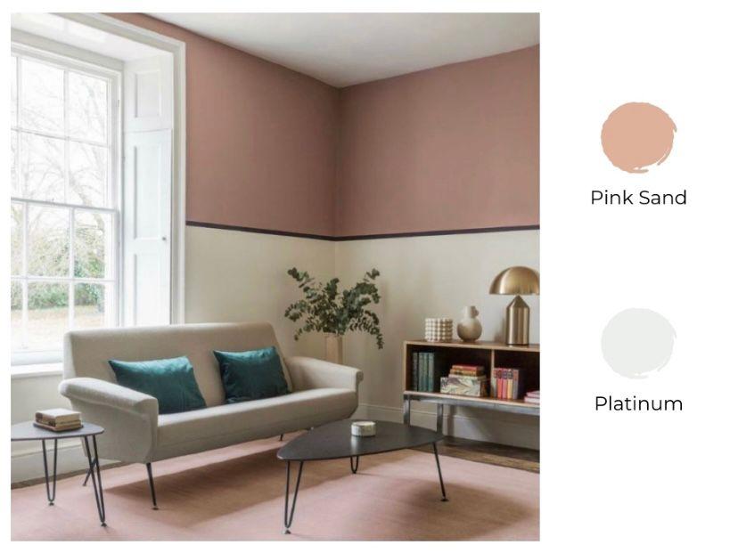 Cat ruang tamu 2 warna pink sand dan putih