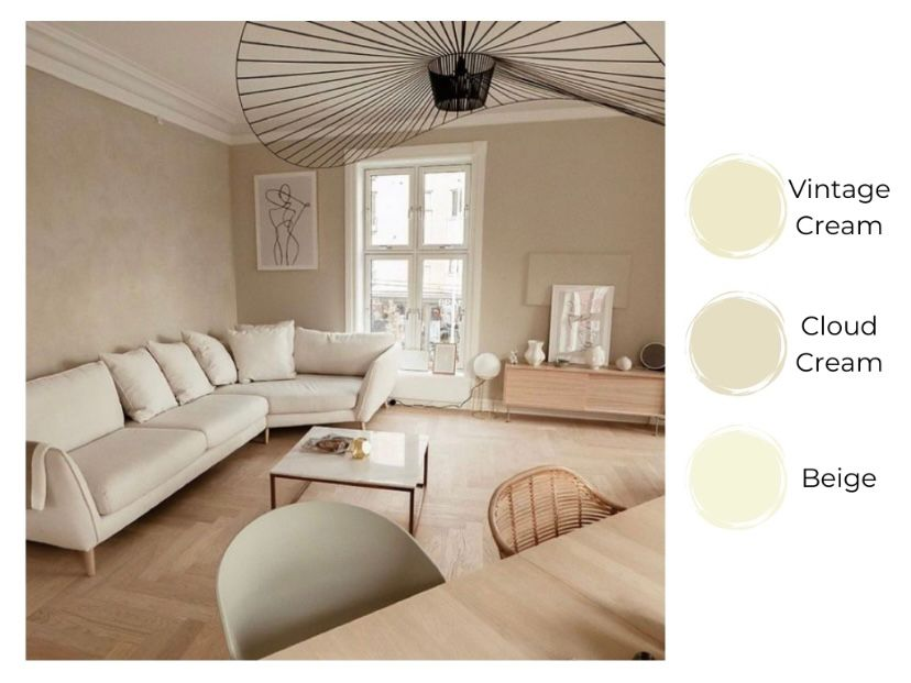 cat ruang tamu warna cream efek dreamy