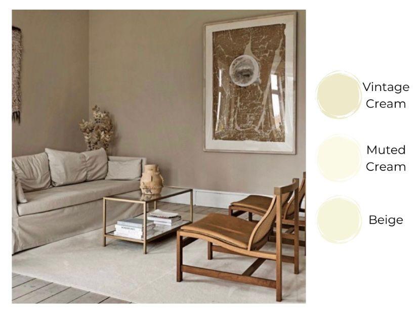Memadukan dinding warna cream dengan lukisan besar