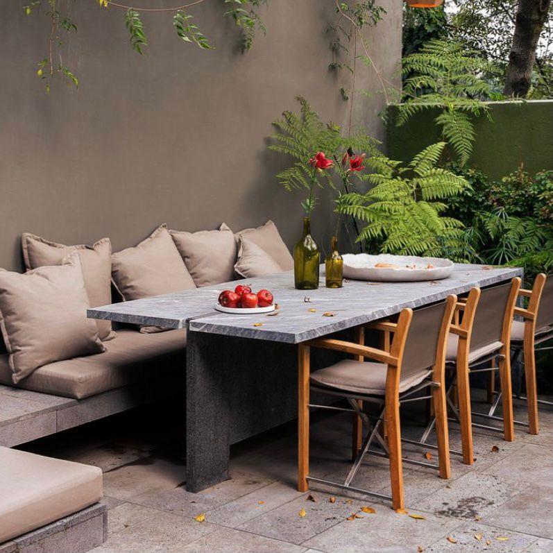 Sofa dan kursi anti air dengan meja batu marmer