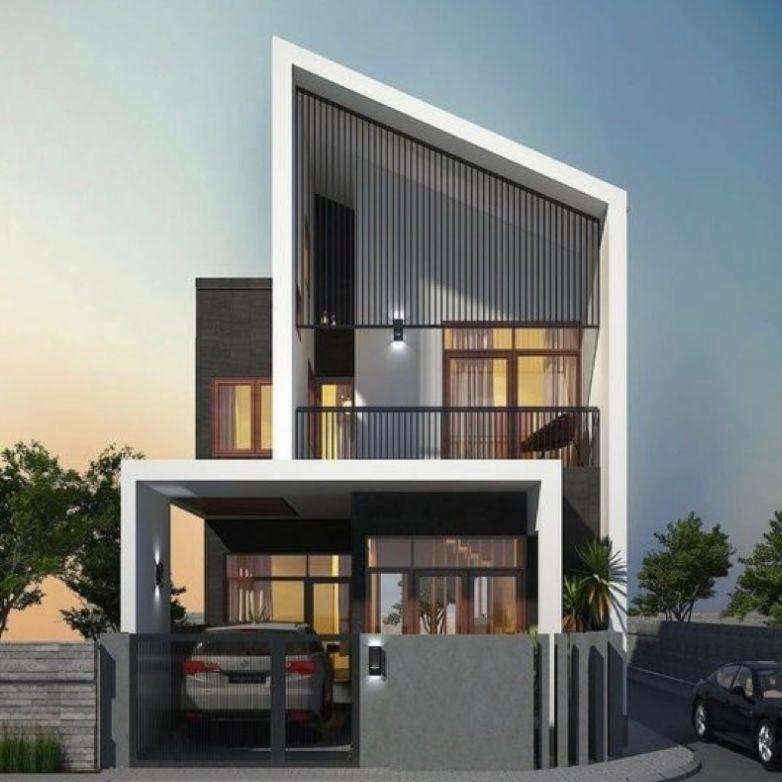 Desain Rumah tingkat minimalis futuristik dengan atap menyudut