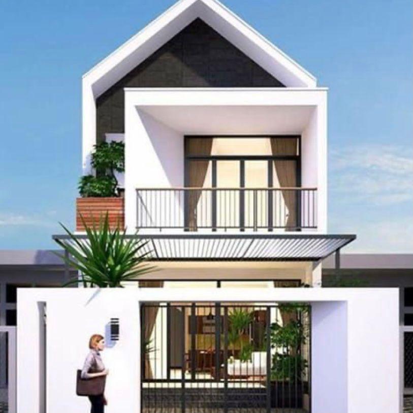 Atap segitiga dengan balkon lebar