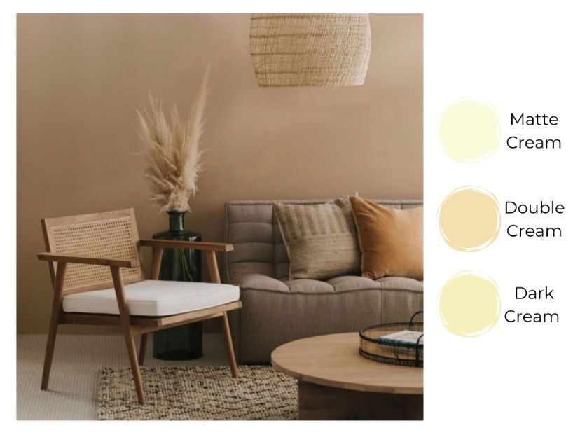 Ruang tamu ala Japandi dengan warna dark cream