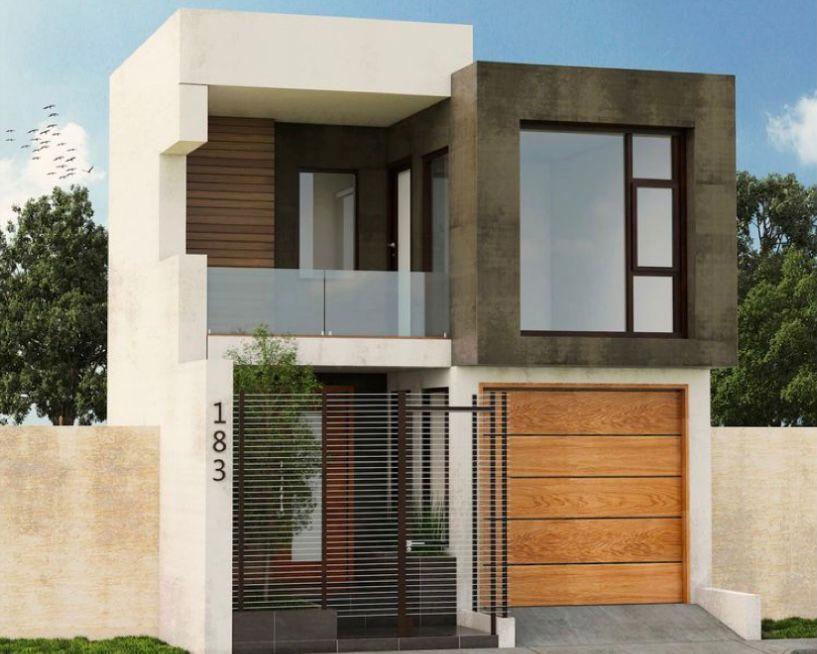 Desain Rumah tingkat minimalis 4 kubus dengan aksen beton
