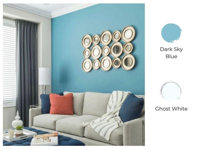 cat ruang tamu 2 warna dark sky blue dan ghost white