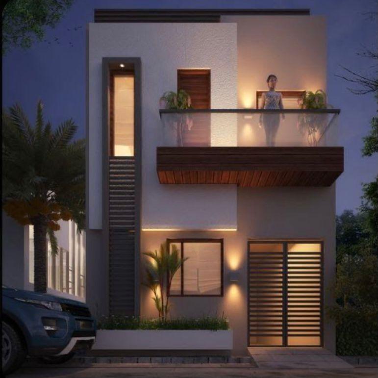 Rumah tingkat minimalis dengan atap rata