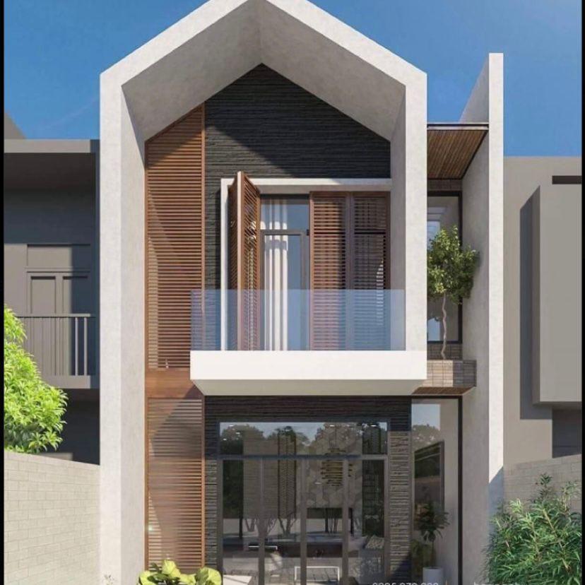 Atap segitiga dengan kombinasi kayu dan kaca sangat modern
