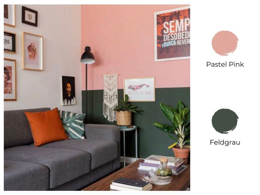 cat ruang tamu 2 warna pastel pink dan feldgrau