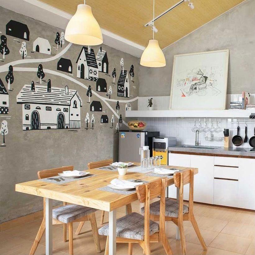 dapur dan ruang makan tema playful