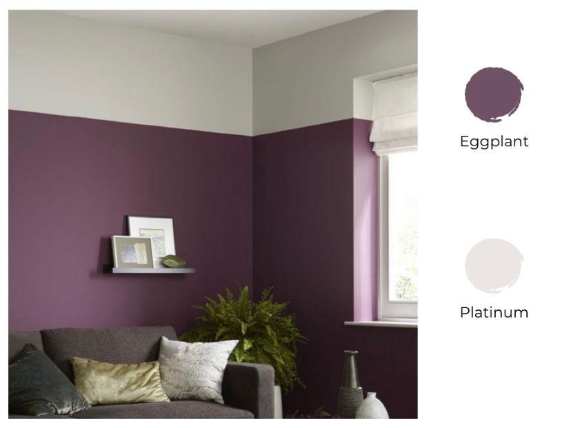 Cat ruang tamu 2 warna ungu dan putih