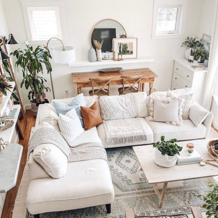 Desain ruang keluarga menyatu dengan ruang makan ala bohemian