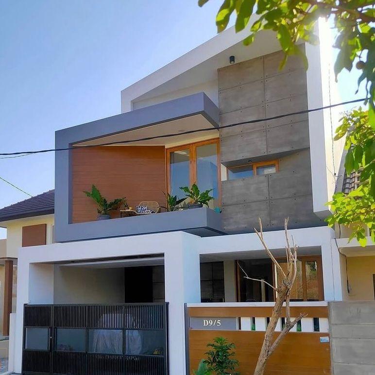 Aksen beton dan desain balkon yang keren