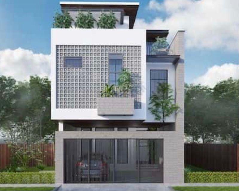 Rumah tingkat minimalis dengan batu beton yang mendominasi
