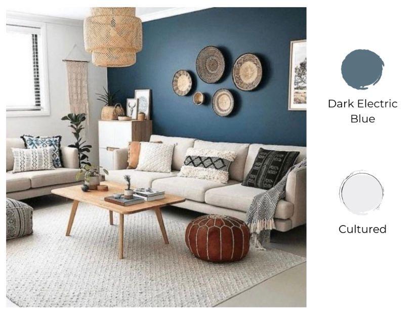 Cat ruang tamu 2 warna dark electric blue dan putih