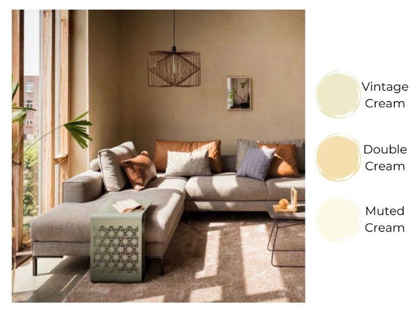 ruang tamu eksotis warna cream cerah