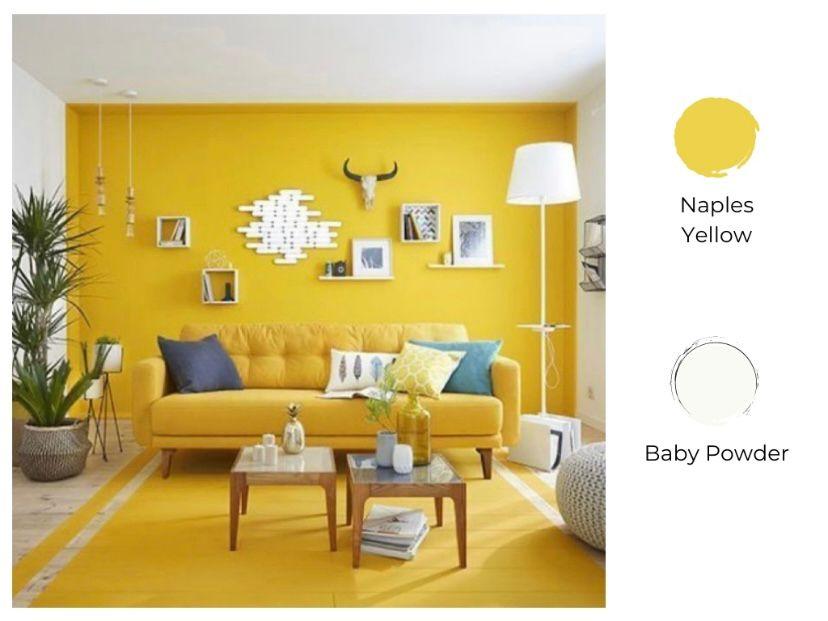 Cat ruang tamu 2 warna naples yellow dan baby powder