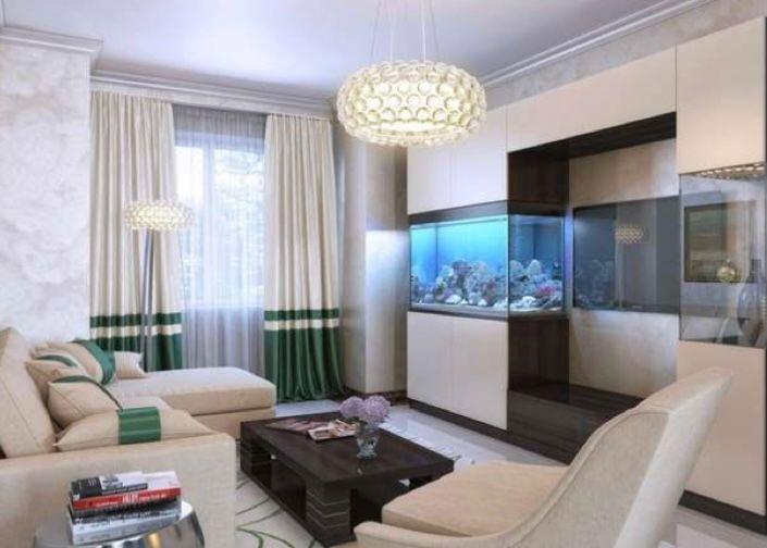 aquarium di ruang tamu sebagai etalase tv