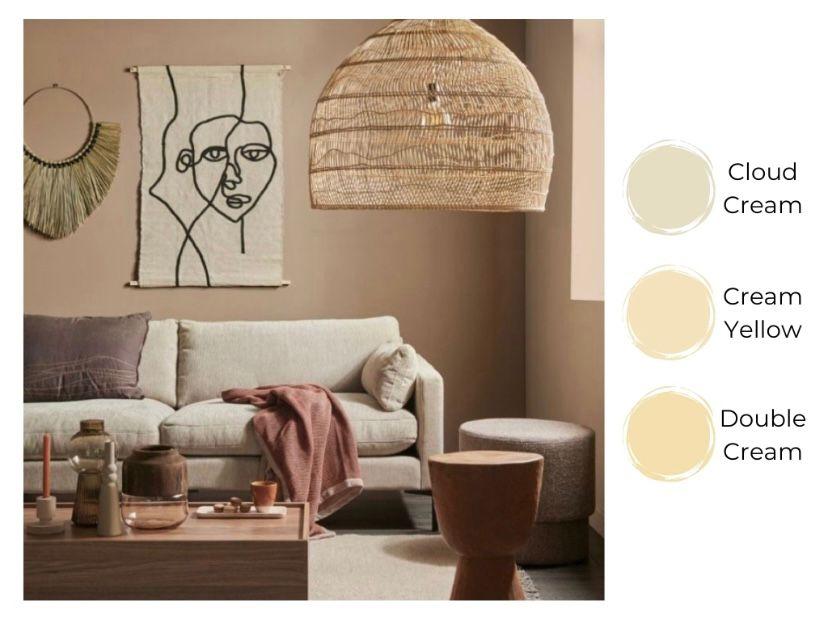 Cat ruang tamu warna cream yang kalem