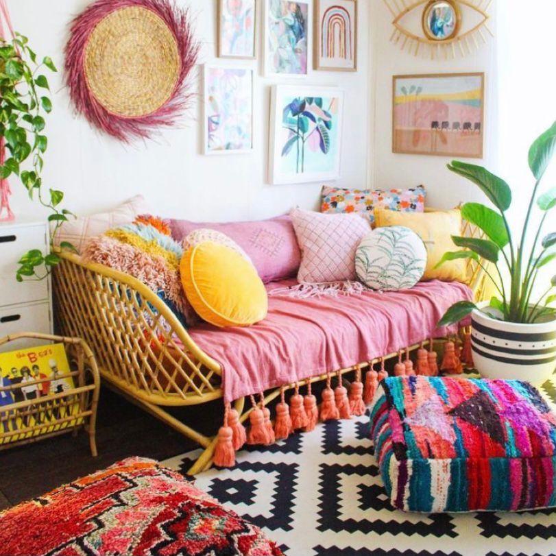 Ruang tamu vintage yang menyegarkan