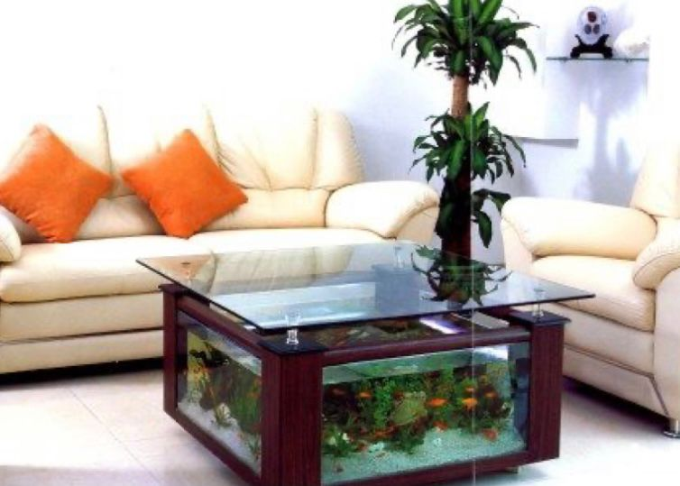 Aquarium pada meja ruang tamu
