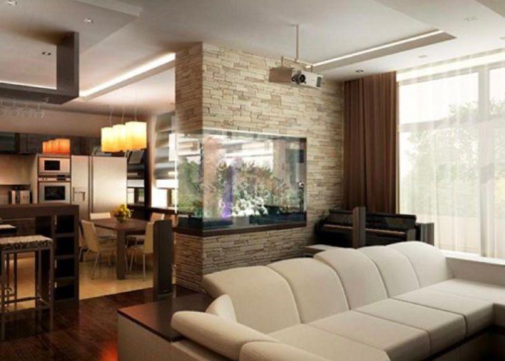 Aquarium menyatu dengan sekat ruangan