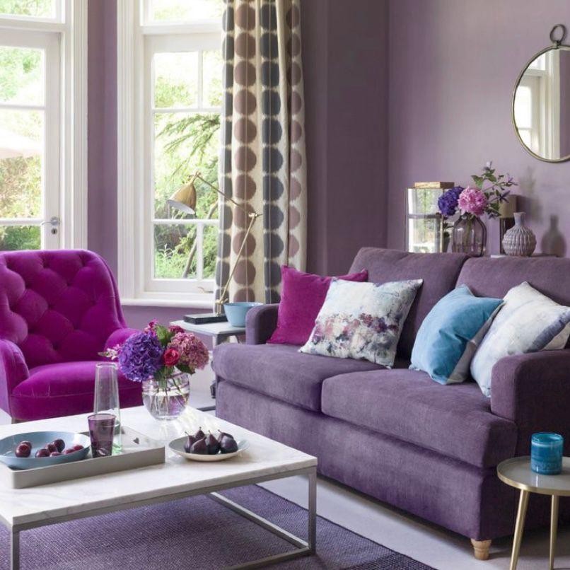Kombinasi beberapa warna ungu dalam satu ruangan