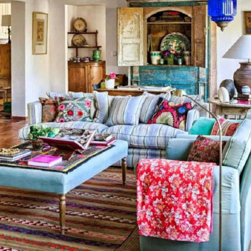 Ruang tamu vintage yang menenangkan