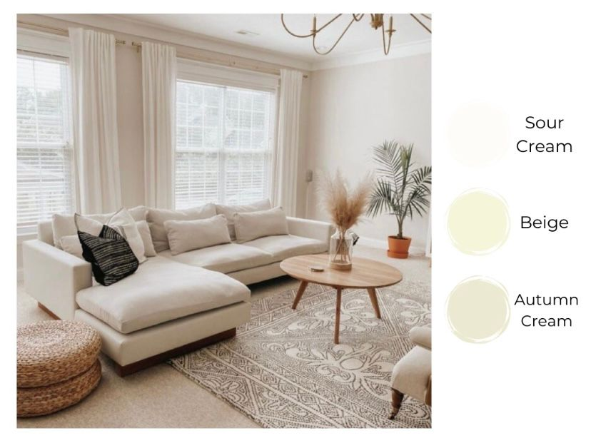 Ruang tamu terlihat lebih luas dengan warna cream terang
