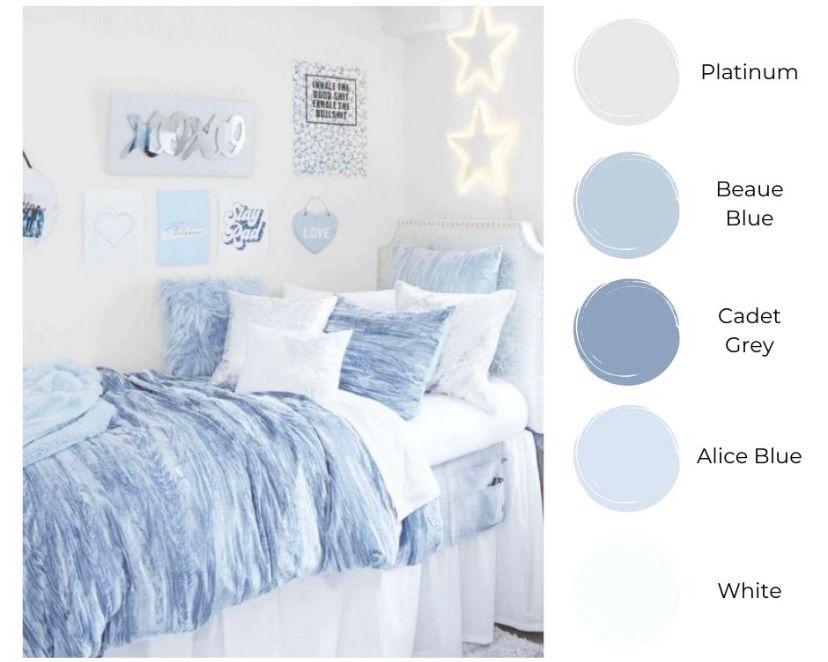Kamar cerah dengan tema biru muda