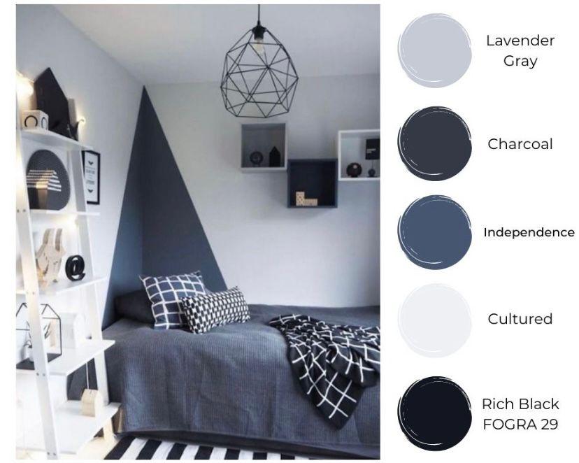 Kamar minimalis dengan campuran warna cultured dan independence