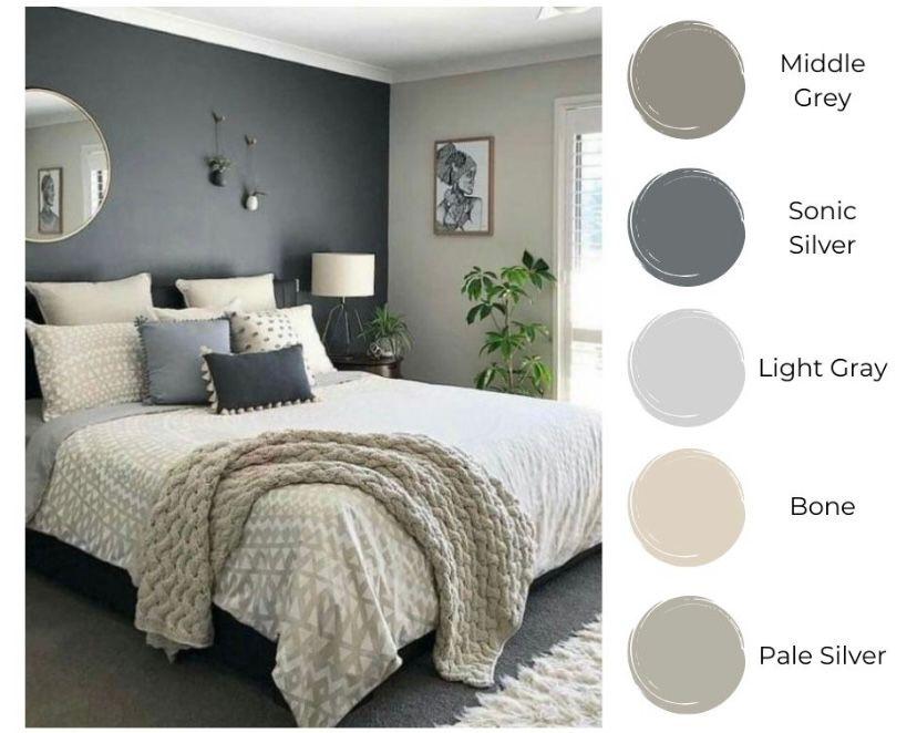 Kamar modern dengan sentuhan Sonic Silver dan Light Gray