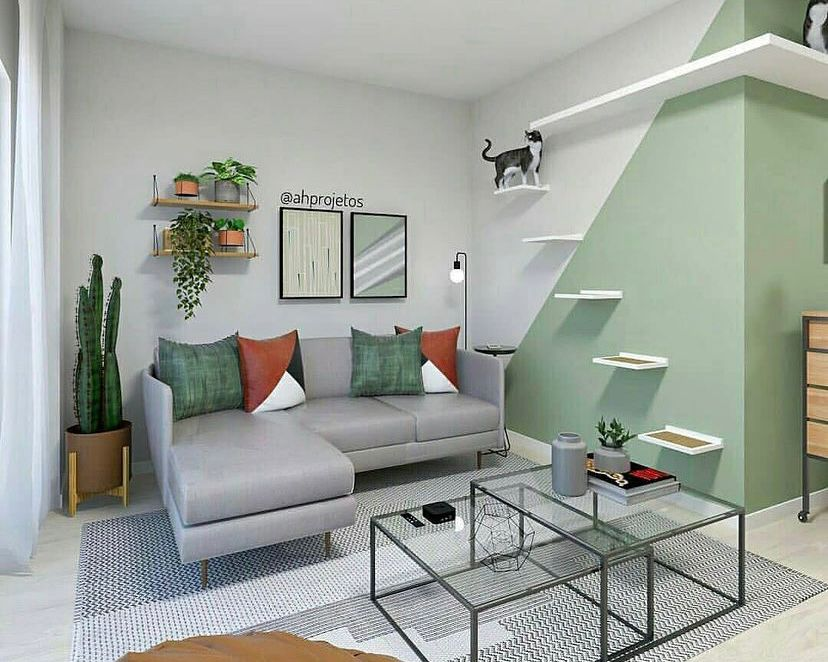 Ruang tamu nuansa hijau