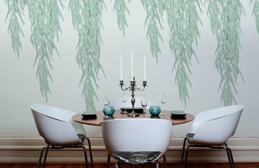 motif wallpaper dinding ruang makan