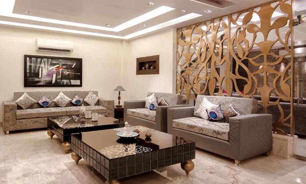 penyekat ruang tamu gaya tradisional modern