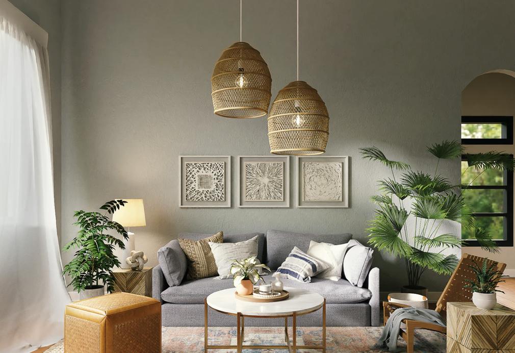 ruang tamu kecil konsep rustic