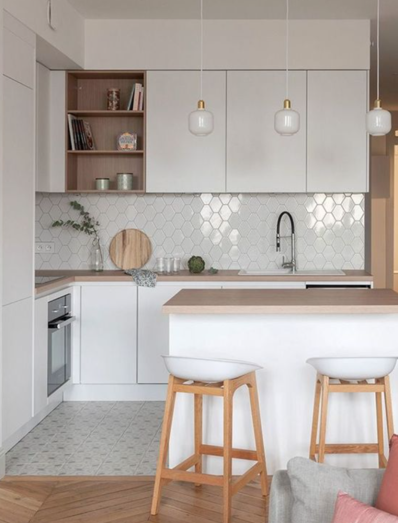 desain interior ruang makan dan dapur apartemen sempit