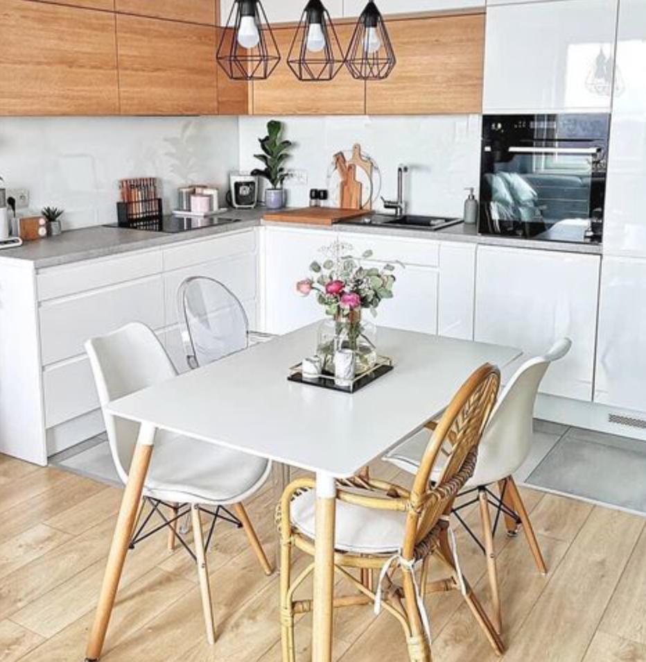 desain interior ruang makan dan dapur sempit